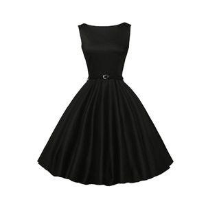 Dresses & Skirts - Black Boatneck Vintage Tea Belted Dress